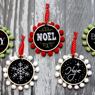 Chalk hoop ornaments