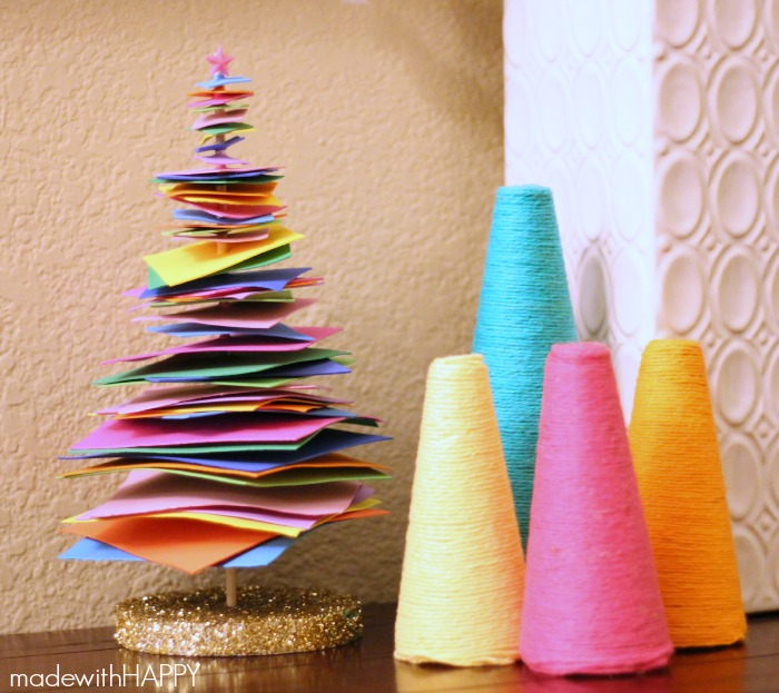 Colorful christmas tree craft sugar bee crafts for Foam sheet christmas crafts