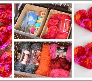 Crochet hearts storage