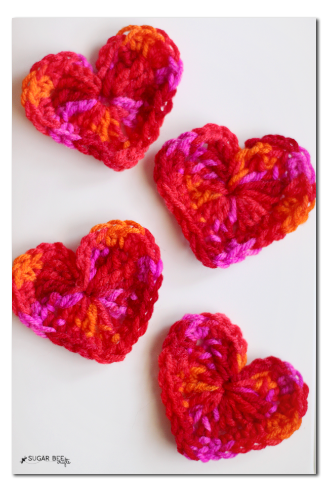 crochet yarn hearts