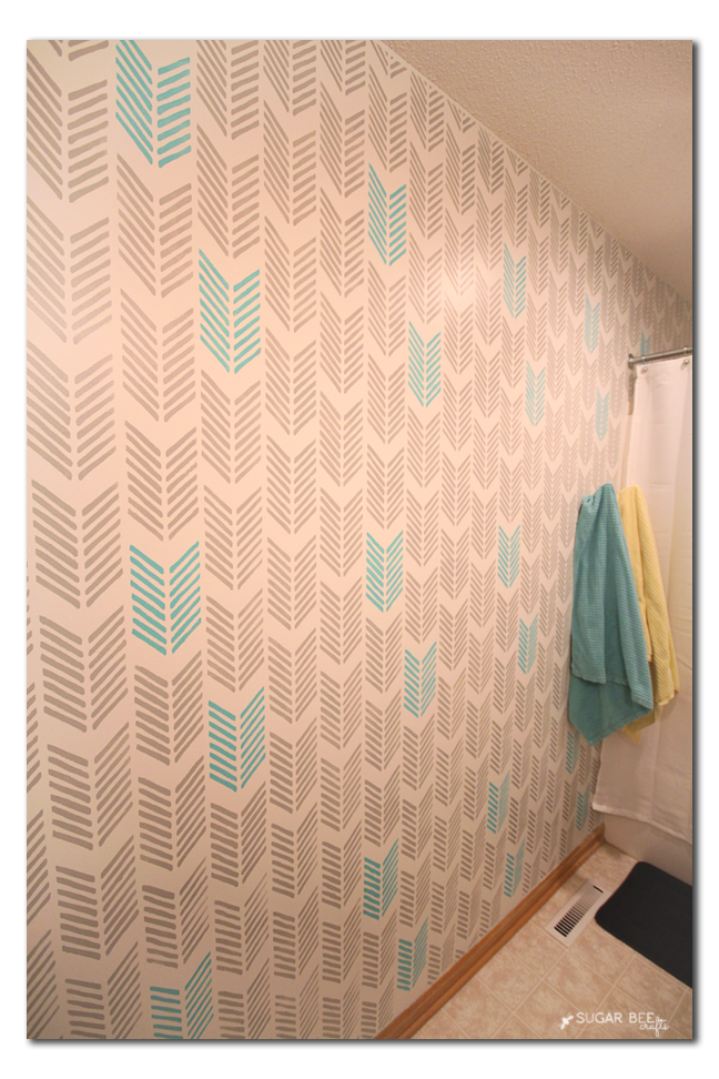 how to arrow stencil bathroom gray turquoise