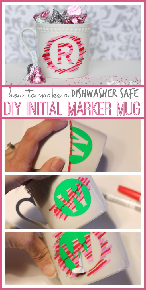 how to make a DIY initial marker mug dishwasher safe