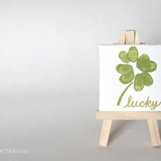 Mini Canvas with Fingerprint Shamrock- Super cute decor! OneKriegerChick.com