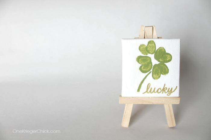 Mini Canvas with Fingerprint Shamrock- Super cute decor! OneKriegerChick.com