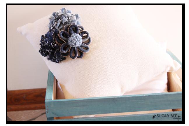 denim flowers pillow