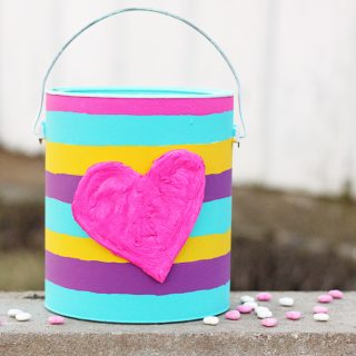 Upcycled diy valentine bucket from a paint can