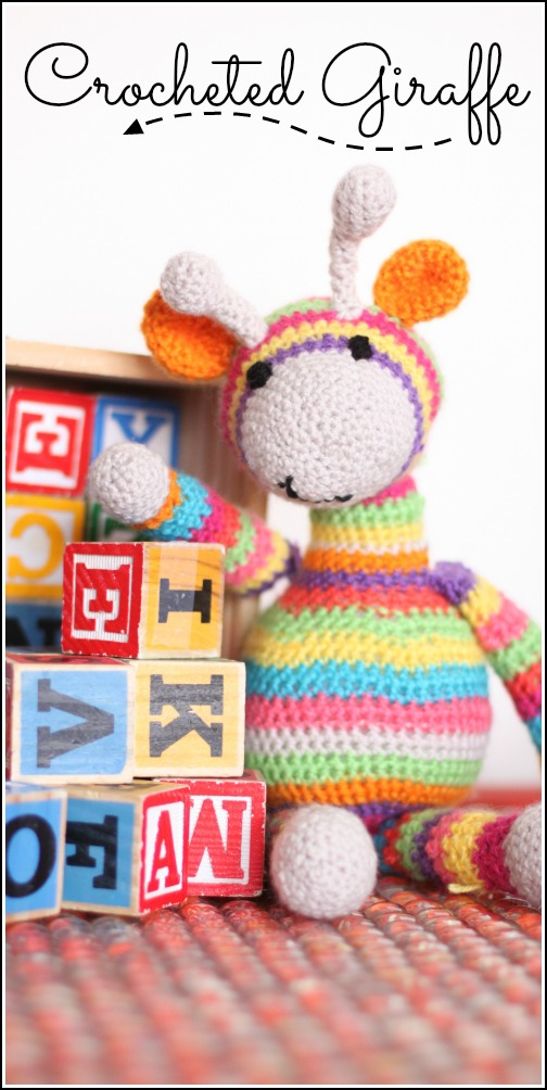 crocheted giraffe striped and colorful