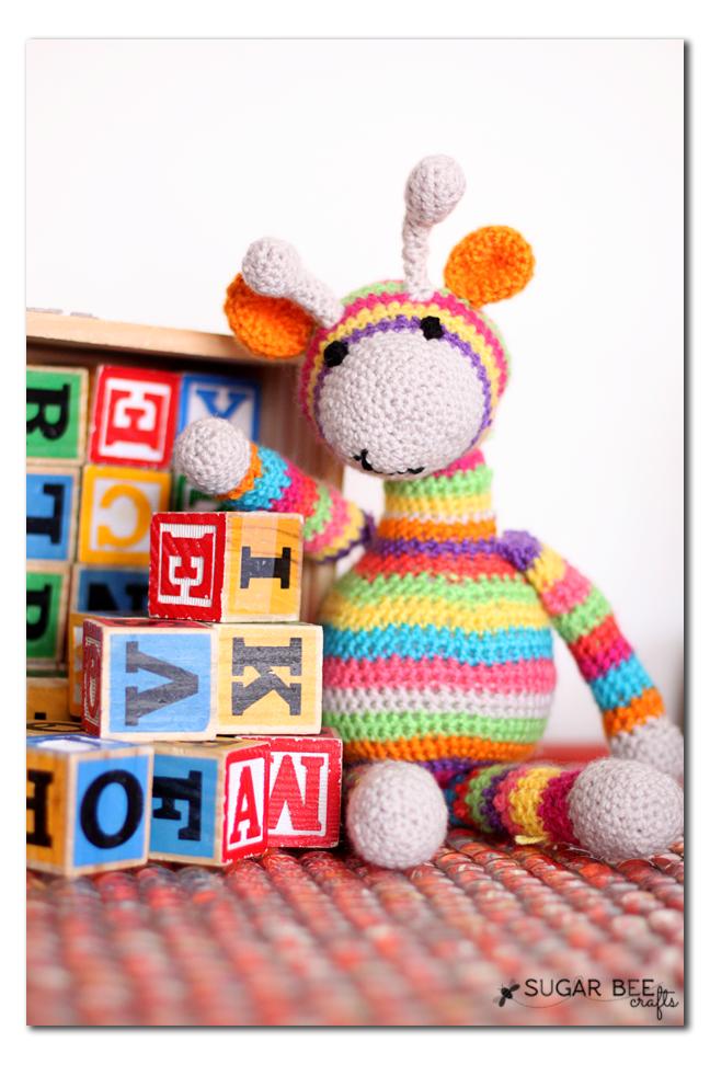 crocheted striped giraffe