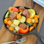 This is the easiest recipe you will ever make but it is so delicious! Under 30 minutes from oven to dinner table is all you need for these roasted vegetables and sausage.