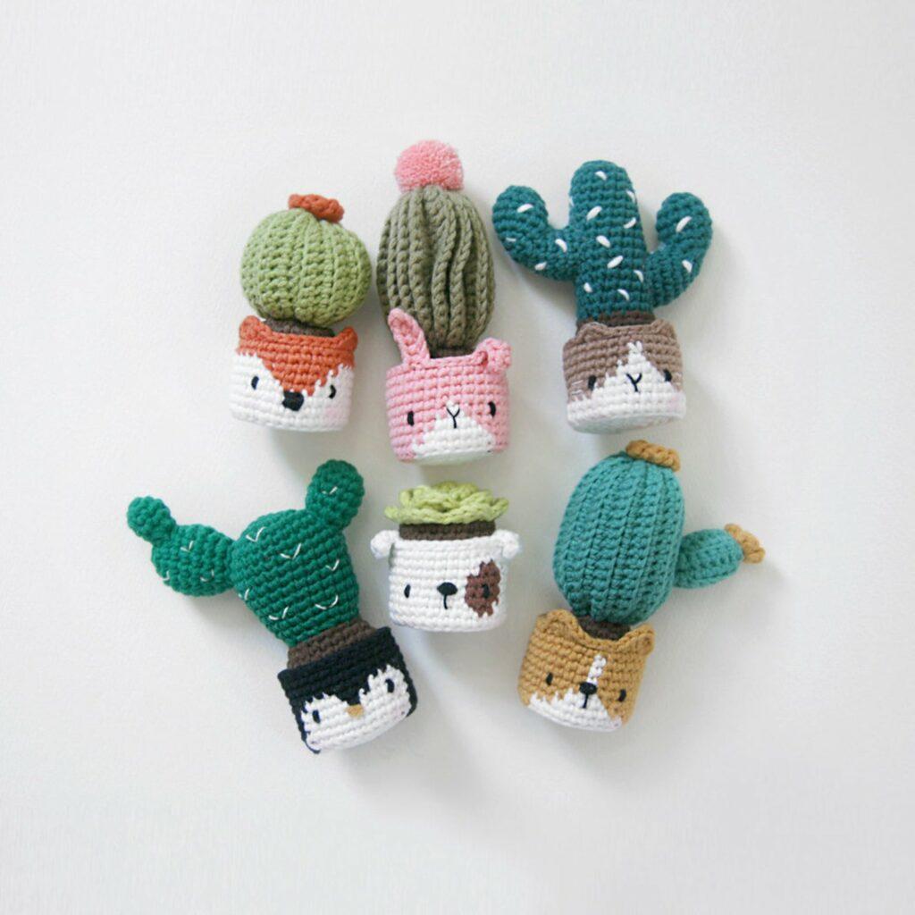 Crochet cactus animalface