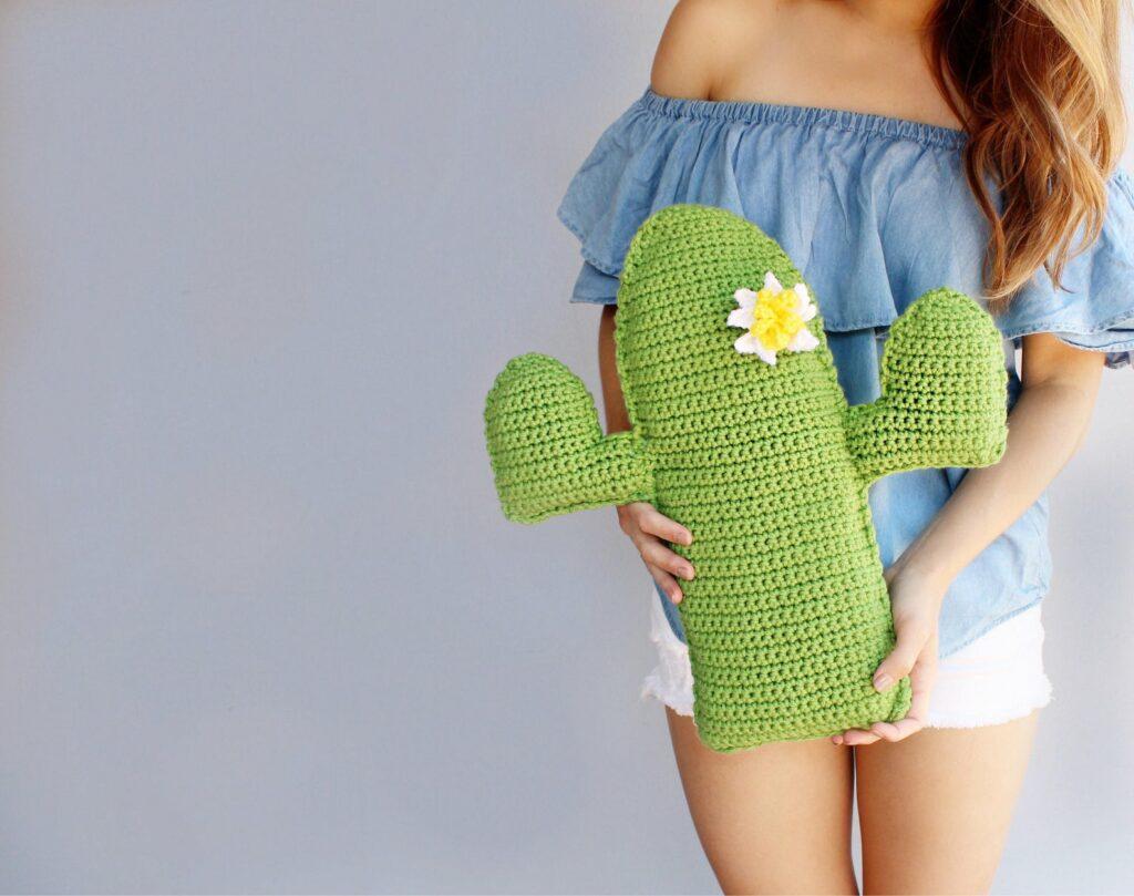 Crochet cactus pillow