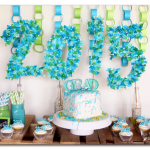 graduation party green and blue