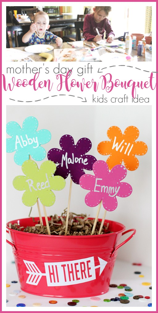kids craft mother's day gift idea wooden flowers