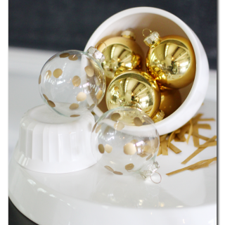Gold polkadot ornament craft idea