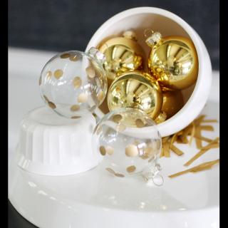 Gold polkadot ornament craft idea