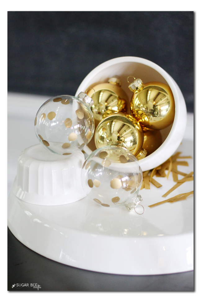 Handmade Ornament Idea: Gold Polkadots