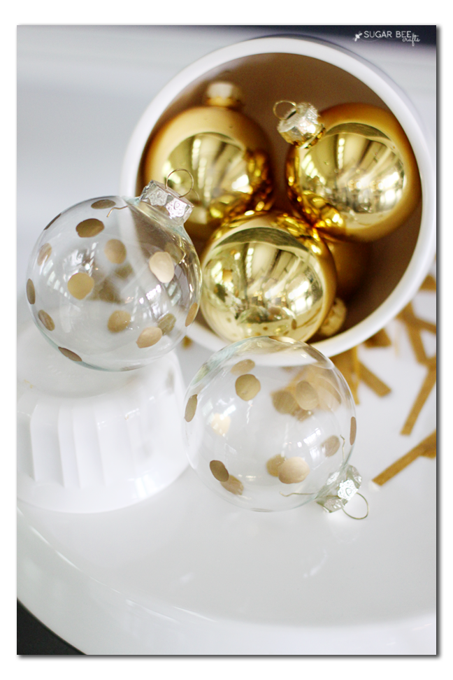 make your own gold polkadot ornament