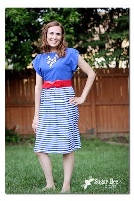 DIY Knit Patriotic Dress with dolman sleeves