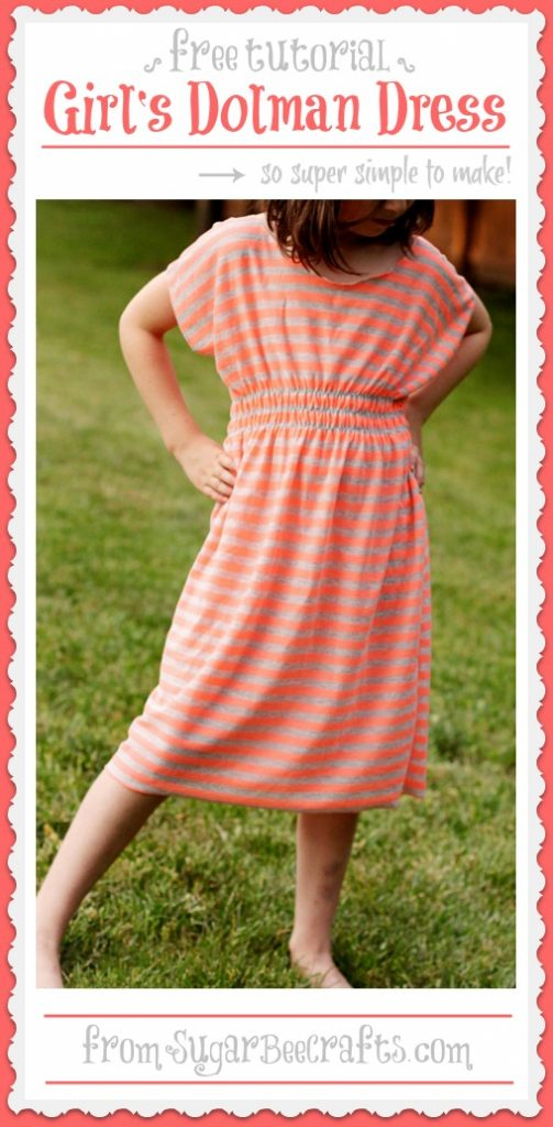 girl's dolman dress tutorial pattern