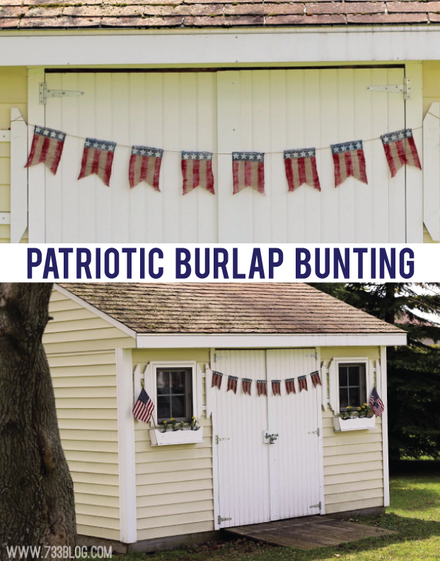Patriotic Burlap Bunting from @733blog