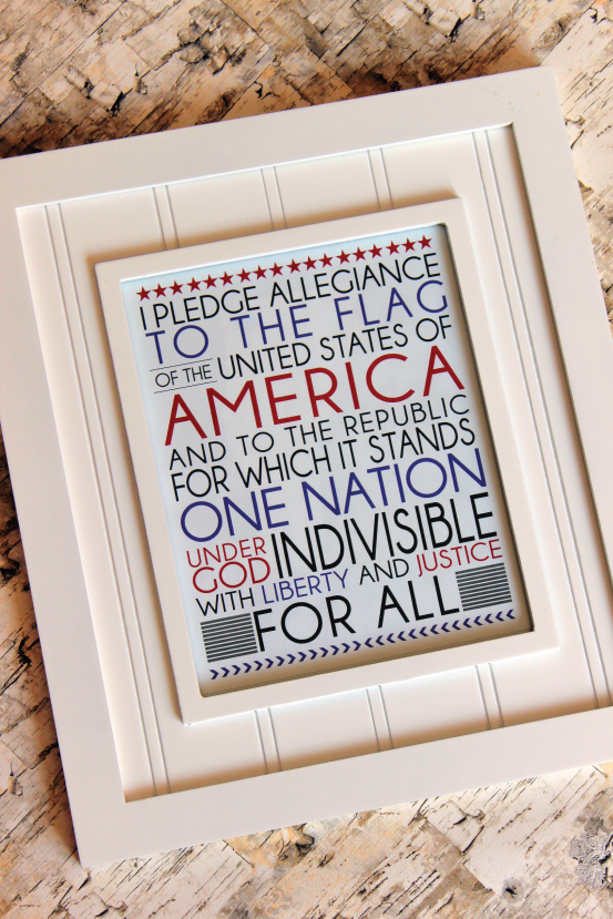 Pledge of Allegiance Printable from @733blog
