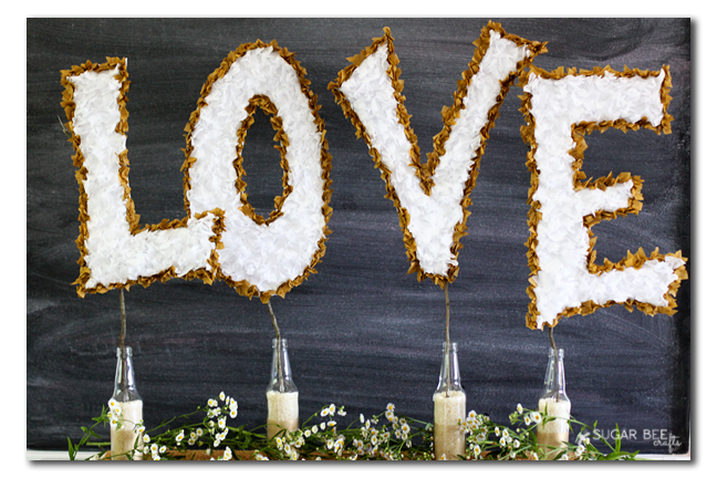 tissue paper love sign wedding decor copy