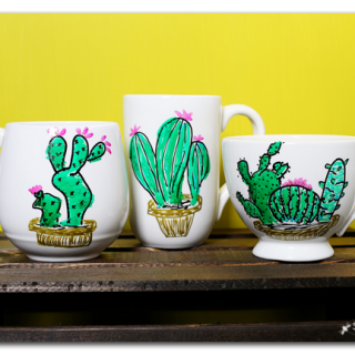 Diy cactus mug painted by me markers