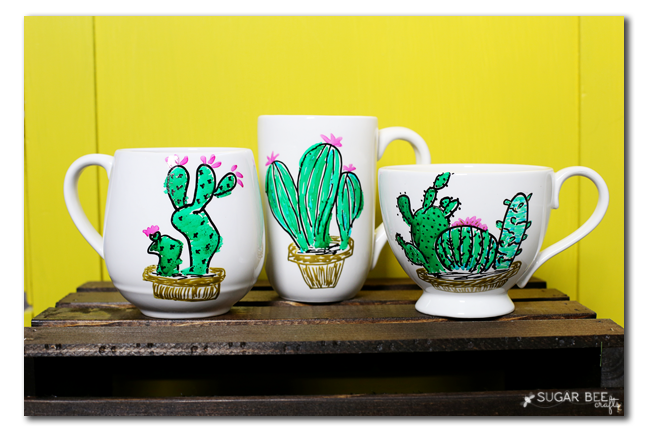 diy cactus mug painted by me markers