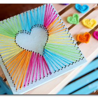 how to make rainbow heart string art