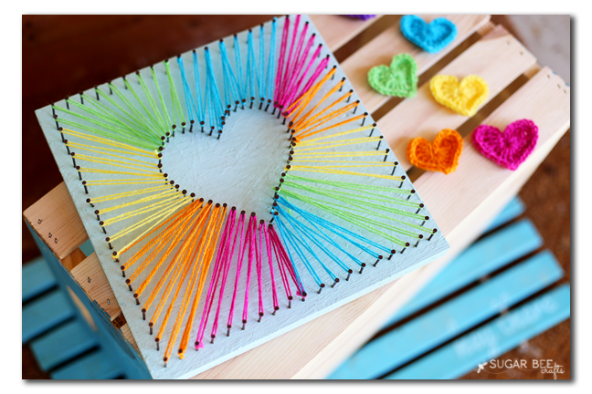 How To Make String Art Beautiful Rainbow Thread Heart Tutorial
