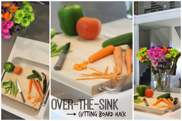 Over The Sink Cutting Board Hack