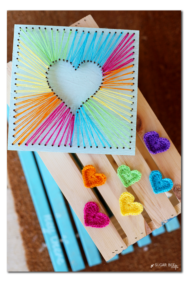 Heart string art sugar bee crafts for Good arts and crafts