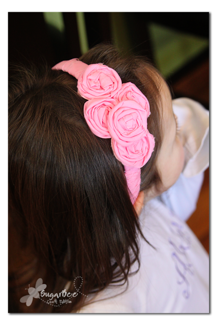 rolled flower headband