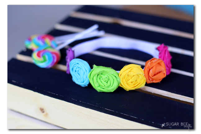rolled flower rainbow fabric headband tutorial