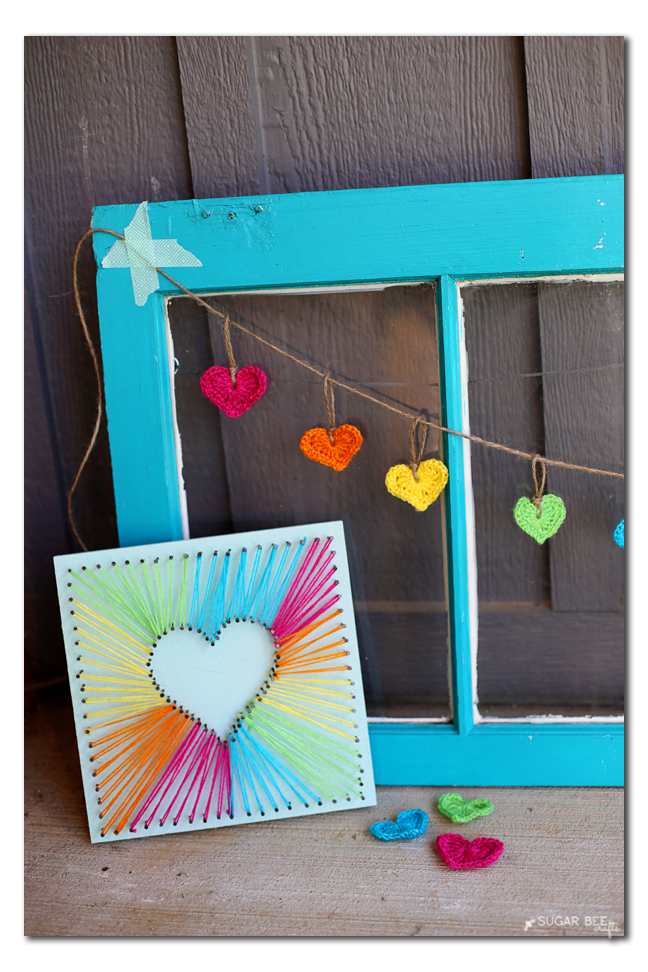 string art heart garland