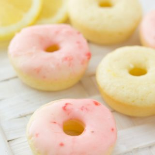 Mini Lemon Donuts with Strawberry Glaze