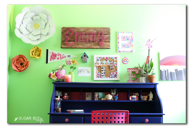 girls tween desk gallery wall