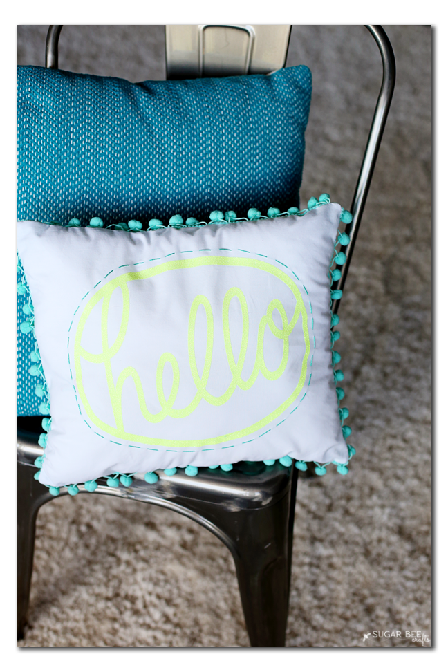 how to make a pom pom hello pillow