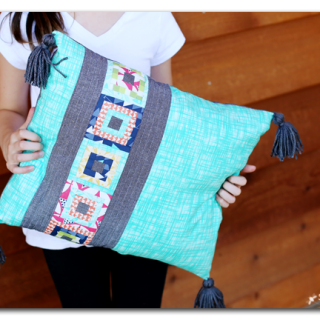 Paper pieced mini quilting square pillow turq