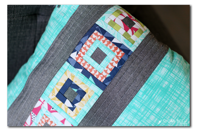 paper pieced mini quilting square pillow