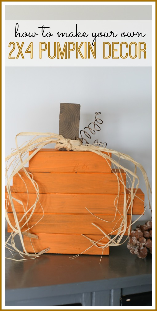2x4 pumpkin fall decor idea