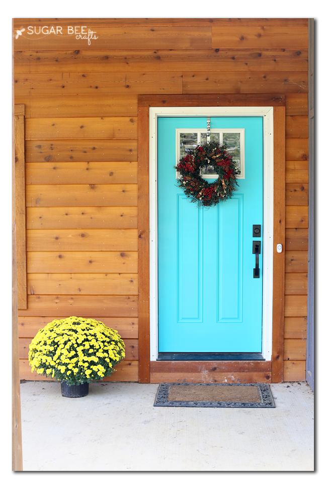 Caicos Turquoise front door with cedar siding