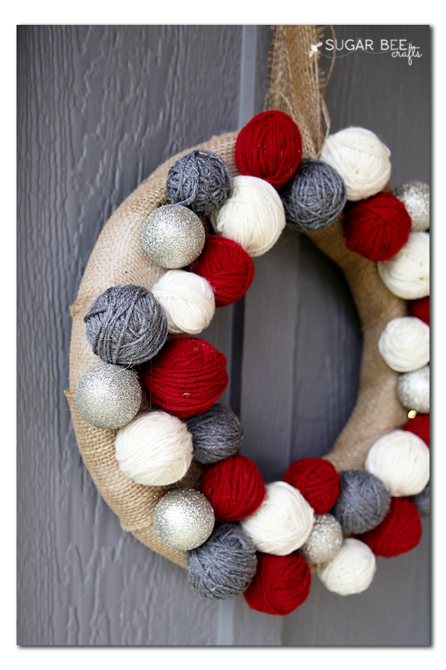 holiday yarn ball wreath