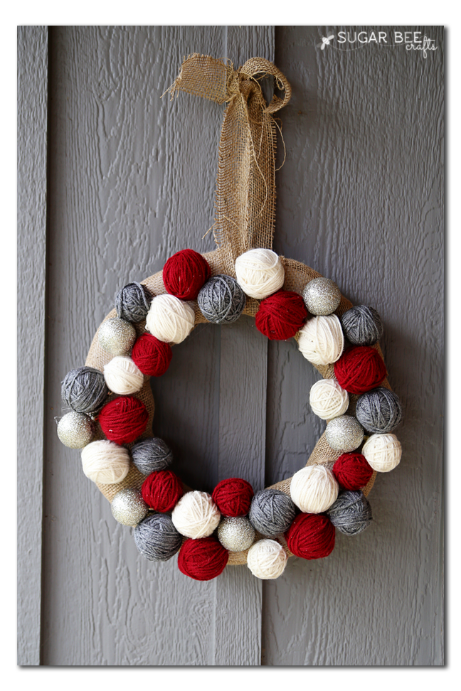 winter yarn ball wreath how to make