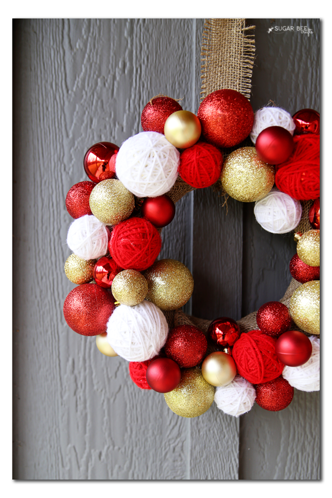 yarn ball wreath how to make
