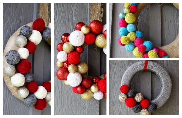 yarn ball wreath ideas