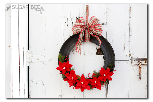 Holiday Poinsettia Tire Wreath