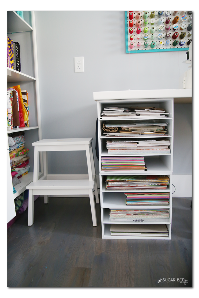 craft room paper shelves