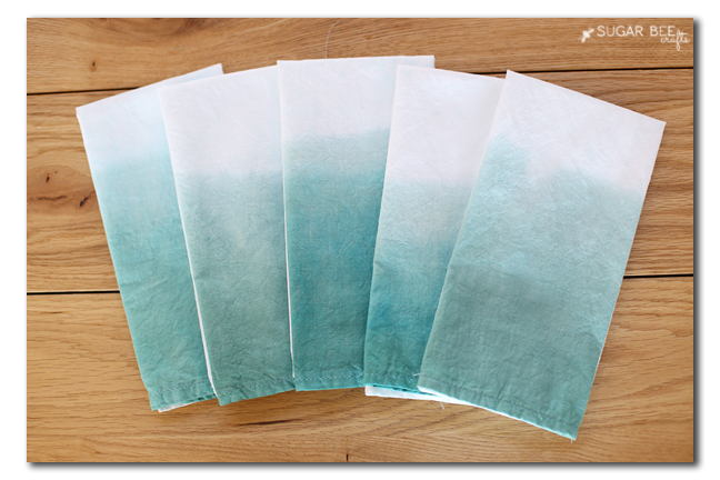dip dye ombre napkins how to