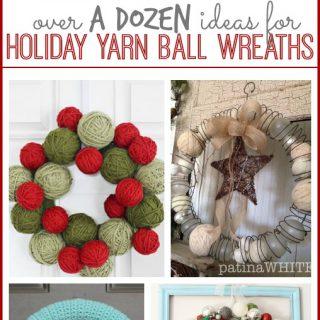 Ideas for holiday yarn ball wreaths